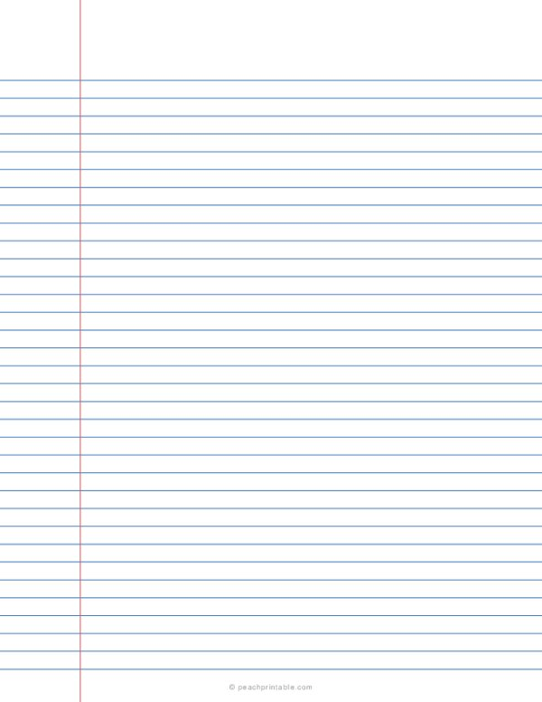 7.1 mm College Ruled Lined Paper - Blue Lines